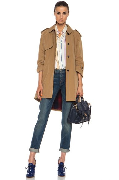 Band of Outsiders|Cutaway Trench Cotton-Blend Coat in Tan
