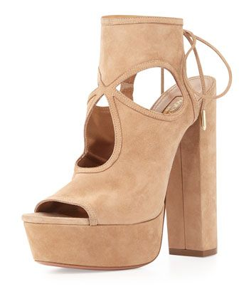 Sexy Thing Platform Sandal, Biscotti by Aquazzura at Neiman Marcus.