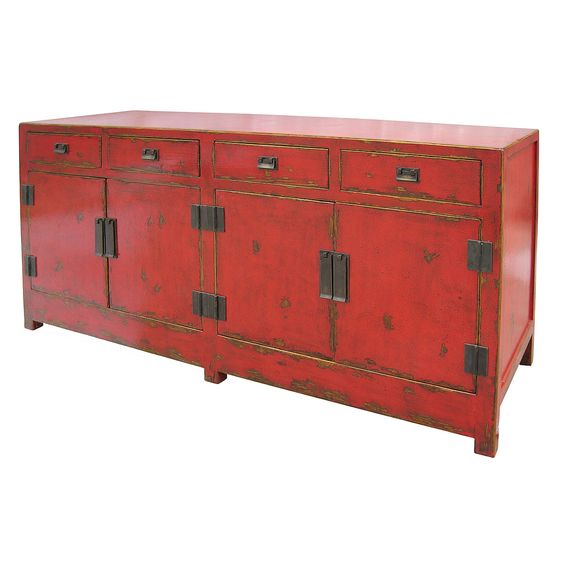 Tai 4 Door and 4 Drawer Red Sideboard | Antique Chinese Furniture | Chinese Cabinet |