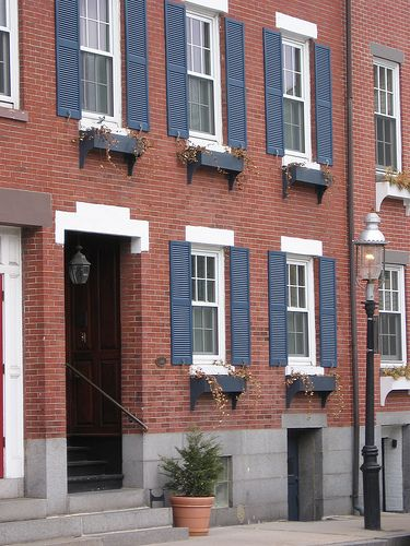 Red Brick House With Pale Blue Shutters Photo Paint