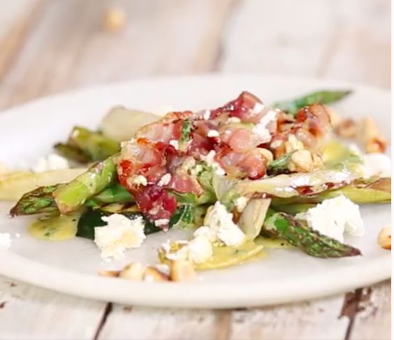 INGREDIENTS Bunch of asparagus 6 Baby leeks 1 Chicory heart 1 large courgette 30g blanched hazelnuts, roughly chopped 8 slices of pancetta 30g feta  For the dressing 1 part sherry vinegar 3 parts olive oil Small bunch of chives Small bunch of parsley 1 tablespoon Dijon mustard salt /pepper