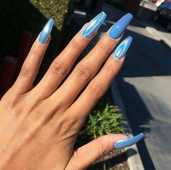44 Coffin Acrylic Summer Nail Designs 2019 Blue Nails Cute