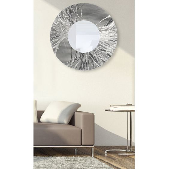 Silver Contemporary Wall Mirror Extra Large Modern Metal Wall Art
