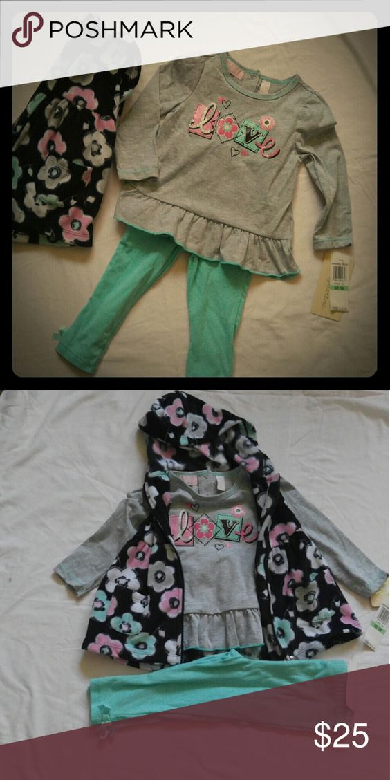 Baby Girls 3 piece suit All new , includes very soft fleece floral vest, grey long sleeve shirt and teal pants detailed with cute bows at bottom. Kids Headquarters Matching Sets