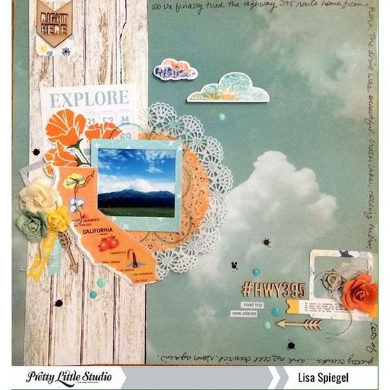 "We showed you the sneak a few days ago...here is design team member @wespiegels layout using our ""Let's Go"" collection!  #prettylittlestudio #plsletsgo #scrapbooking #papercrafts"