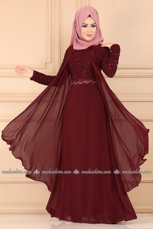 Modaselvim Abiye Yelek Gorunumlu Tasli Abiye Alm52758 Bordo Abayas Fashion Modest Fashion Muslim Afghan Dresses