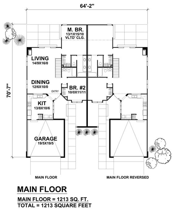 Duplex plan chp 28415 at house plans for Duplex plans canada