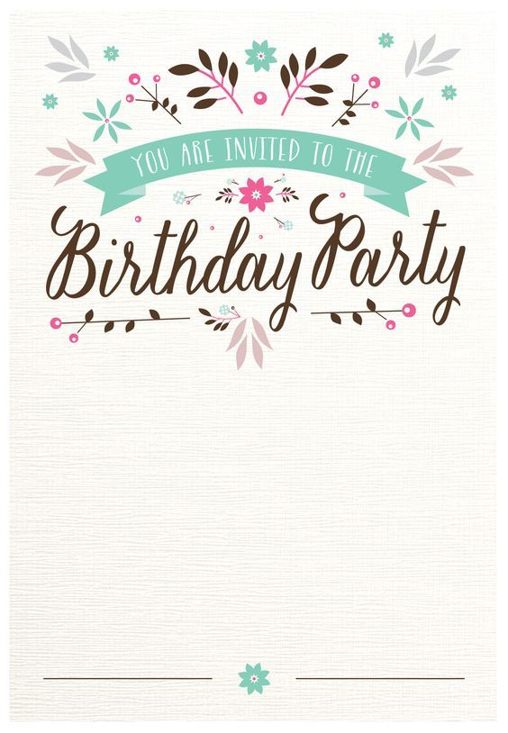 Flat Floral - Free Printable Birthday Invitation Template - birthday card templates free