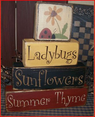 Summer Thyme Ladybugs Sunflowers Primitive block Sign by Heresyoursignprim on Etsy https://www.etsy.com/listing/128714102/summer-thyme-ladybugs-sunflowers