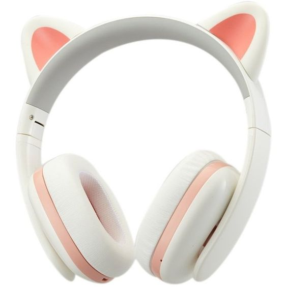 TopSun Music Headset Headphone Creative Cat Ear Stereo Over-ear Game... (£73) ❤ liked on Polyvore featuring accessories, tech accessories, white earbuds, cell phone earbuds, cell phone headphones, cat ear headphones and headphone earbuds