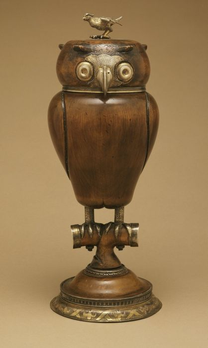 Owl Cup Germany, circa 1570 Silver, parcel-gilt, mazer wood  © Los Angeles County Museum of Art