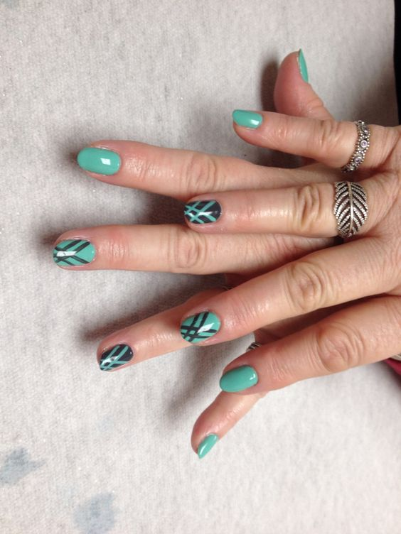 Teal and grey with hash mark design  Oasis Salon and Spa Mill Hall Pa (570)726-6565