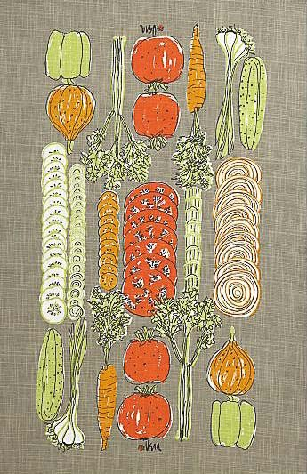Vintage Vera Neumann dishtowels at Crate & Barrel