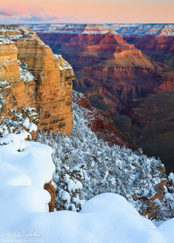 A fresh blanket of snow on the Grand Canyon.