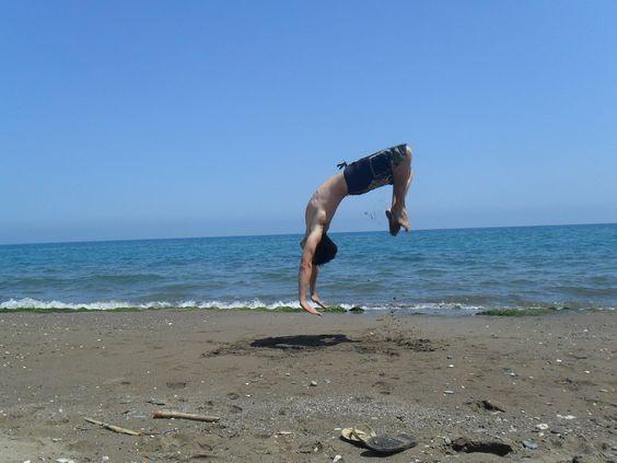 Fun At The Beach! Back flip..