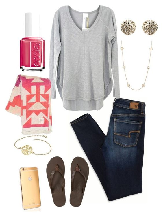 """""""Untitled #201"""" by kaleeb23 ❤ liked on Polyvore featuring American Eagle Outfitters, Wilt, Billabong, Alexis Bittar, Kendra Scott, Essie, Rainbow Sandals, Goldgenie, women's clothing and women's fashion"""