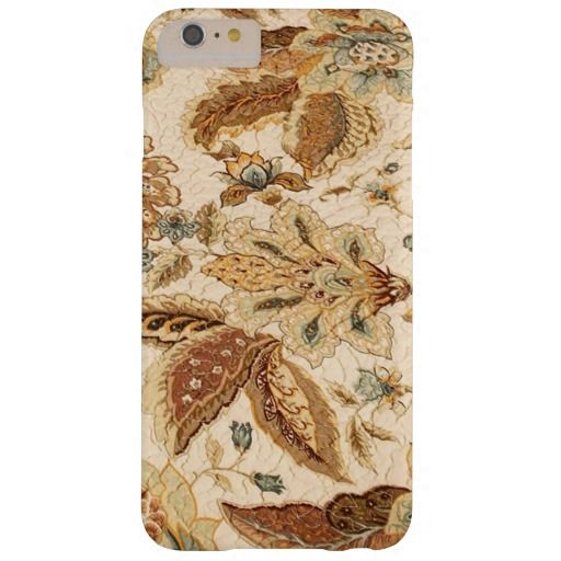 Pastel Tan French Jacobean Floral Print Barely There iPhone 6 Plus Case