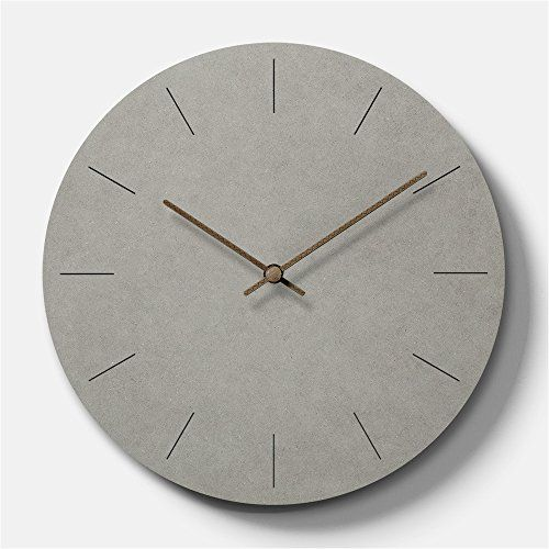 Simple Modern Concrete Feel Wooden Round Wall Clock 11 Inch Wall Clock Modern Wall Clock Wall Clock Simple