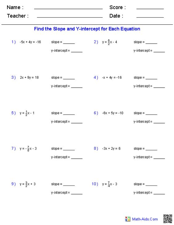 math slope worksheets finding slope and y intercept from a linear equation geometry worksheets. Black Bedroom Furniture Sets. Home Design Ideas