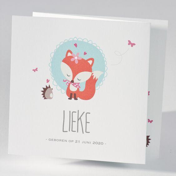 Geboorte: Geboortekaartje drieluik met vosje en bosdiertjes voor een meisje