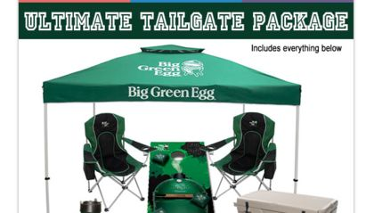 Win a Big Green Egg MiniMax EGG with carrier, charcoal, tent, two chairs, game…