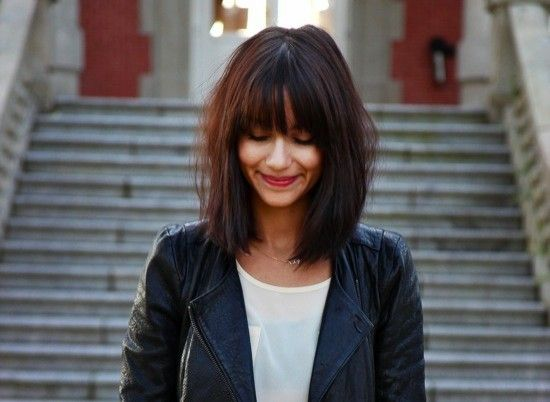 messy shoulder length hair with bangs