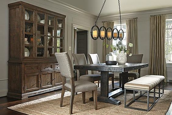 The Strumfeld Dining Room Table From Ashley Furniture HomeStore (AFHS.com).  Nice Light Fixture.   Design   Pinterest   Dining Room Table, Room And  Lights