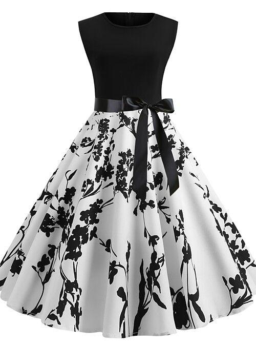 Women S Vintage 1950s A Line Dress Floral Fruit Print Summer Black White Blushing Pink S M Vintage Dresses Online Women S A Line Dresses Women Cheap Dresses