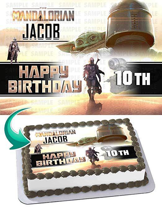 Star Wars Baby Yoda Mandalorian Edible Image Cake Birthday Topper 1//4 Sheet