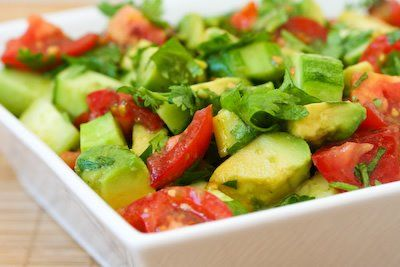 Tomato Salad Recipe with Cucumber, Avocado, Cilantro, and Lime      Good for lunch; could serve it over 1/2 cup of cooked quinoa for a complete meal.  Yummmmmmmm
