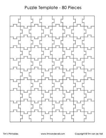 80 Piece Puzzle Template Puzzle Piece Template Puzzle Art Design Puzzle Art