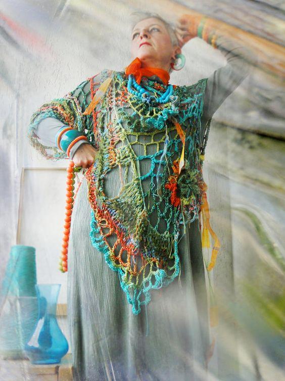 Multicolored detailed asymmetric fiber art by MizzieMorawez, €560.00