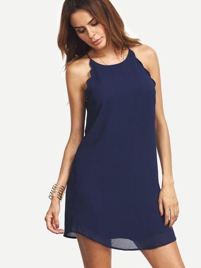 Shop Navy Scallop Trim Sleeveless Chiffon Dress online. SheIn offers Navy Scallop Trim Sleeveless Chiffon Dress & more to fit your fashionable needs.