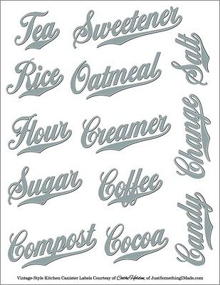 Free PDF Images: these are great, print on clear full sheets labels http://www.worldlabel.com/Pages/wl-ol175.htm cut out and label your pantry canisters.