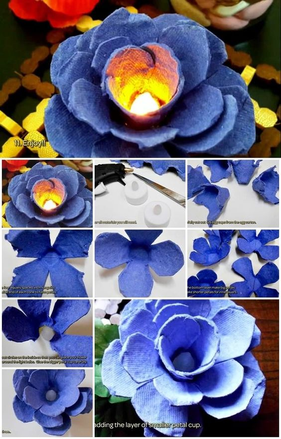 Flower lights how to make and egg cartons on pinterest Egg carton flowers ideas