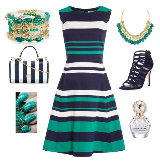 """""""Stripes"""" by amna15 ❤ liked on Polyvore featuring Dickins & Jones, ABS by Allen Schwartz, Stuart Weitzman, Dolce&Gabbana and Marc Jacobs"""
