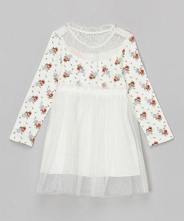 Look at this #zulilyfind! White Floral Dress - Toddler & Girls #zulilyfinds