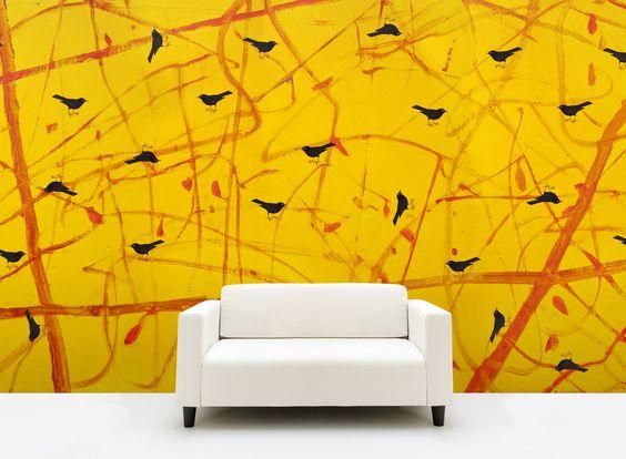 Tapeter illustrerade för Your Wallpaper av Johan Petterson. Gul Trast Rast