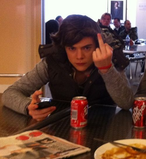 Harry Styles, giving the finger with style