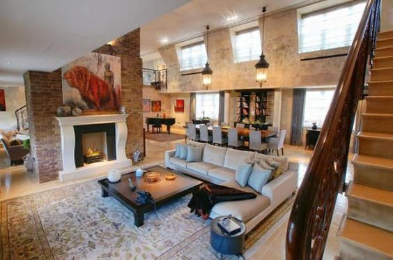 Home & Apartment, Exposed Brick Wall Beautiful Painting Fireplaces And Pendant Lamps Large Sofa With Square Coffe Table A Large Dining Table...