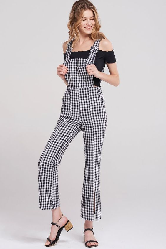 Gina Gingham Check Overalls-Black Discover the latest fashion trends online at storets.com #fashion #Gingham #checkedoverall #overalls #storetsonme