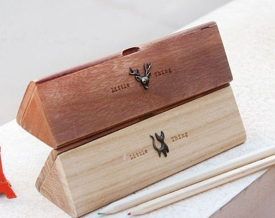 Handmade wooden jewelry box - wooden pencil box - vintage box - Lovely Animals