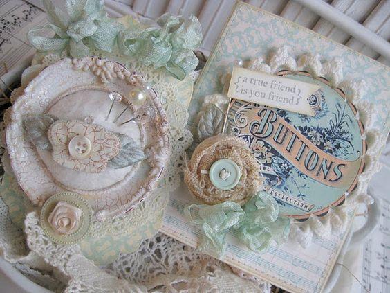 Beautiful..: Crafty Pincushions, Cherrysjubileecards Sew, Cards Beautiful, Beautifuls Cards, Cards Shabby, Wedding Card, 4 Scrapbooking Cards, Chic Cards
