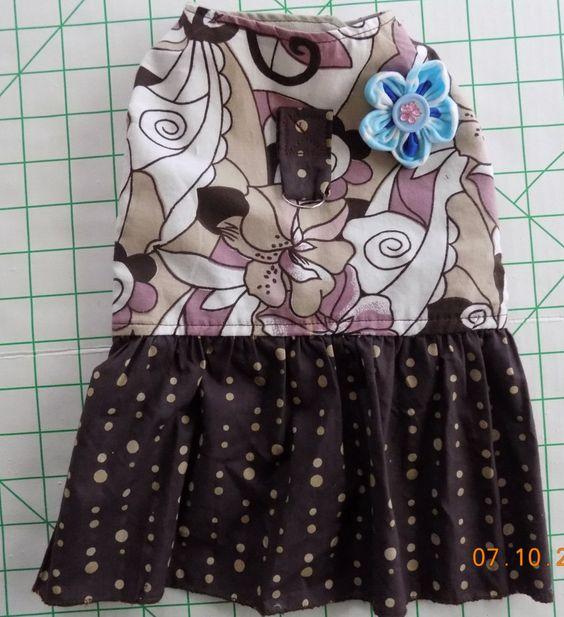 Casual Summer Dress #3 - Brown Flowers & Polka Dots - size MEDIUM - Light Cotton Dog Dress by PrettyPuppiesbyJ on Etsy