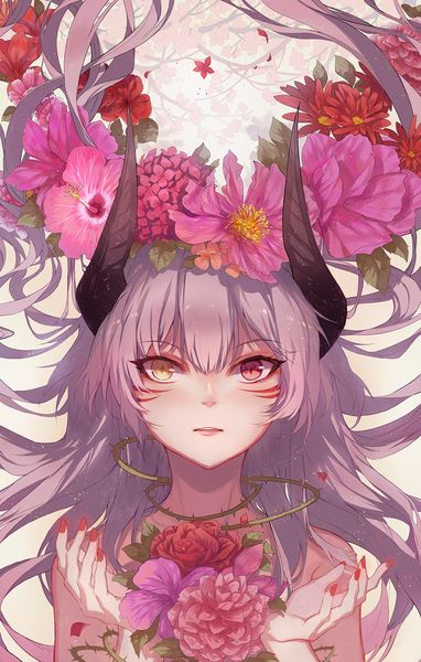 Anime picture 				700x1098 with  		original 		kane (kanekiru) 		single 		tall image 		blush 		looking at viewer 		pink hair 		yellow eyes 		pink eyes 		hair flower 		horn (horns) 		wind 		nail polish 		heterochromia 		parted lips 		fingernails 		facial mark 		long fingernails 		upper body 		girl