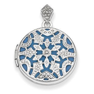 Shop for Versil Sterling Silver 20mm Round Diamond Accent Vintage Locket. Get free delivery at Overstock.com - Your Online Jewelry Destination! Get 5% in rewards with Club O!