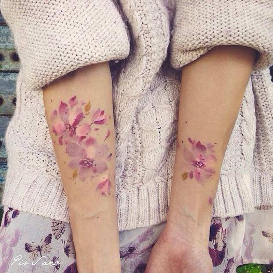 Pink Watercolor Flower Tattoo for Women-Left arm with hummingbirds ❤️