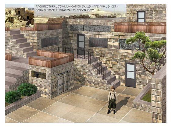 سارة الرفاعي Architectural Communication Skills  مهارات اتصال معماري لوحة11: تجرية الامتحان النهائي لمادة مهارات اتصال معماري حول تصميم الجديد كامتداد للنمط القديم ولكن بشكل حديث