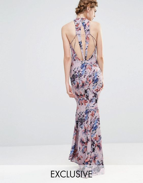 Jarlo Wedding High Neck Maxi Dress with Fishtail and Detailed Back | ASOS