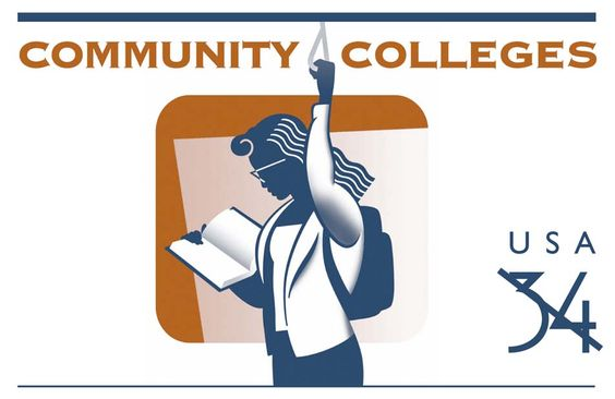 100 years of community colleges in the U.S. was celebrated in 2001 with a stamped postal card.